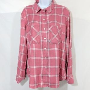 Sanctuary Coral plaid button down shirt